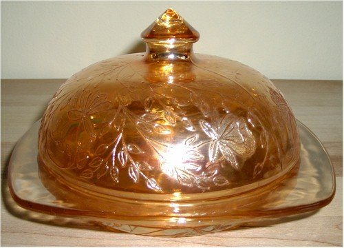 "Jeanette Glass - Floragold 6 1/4"" Butter Dish With Cover"