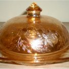 """Jeanette Glass - Floragold 6 1/4"""" Butter Dish With Cover"""