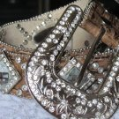 Studded Tan Belt w/Clear Crystals - Small