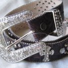 Dark Brown Studded Cross Belt-Size Medium
