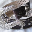Dark Brown Studded Cross Belt-Size Large