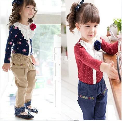 20pcs Children's girl Big Flower Lace primer shirt T-Shirts