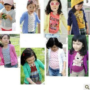 B2W2 Girls' Cardigan shirt kids toddler girl winter autumn clothing coat Candy colors 40pcs/lot