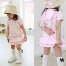 Girls' Suits Three-dimensional wing Angel suits baby short sleeve Hooded Sweater + Skirts suits
