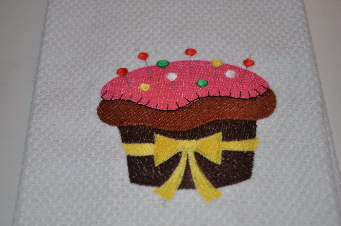 "Crafty Cupcake ""With Pins"" Kitchen Dishtowel"