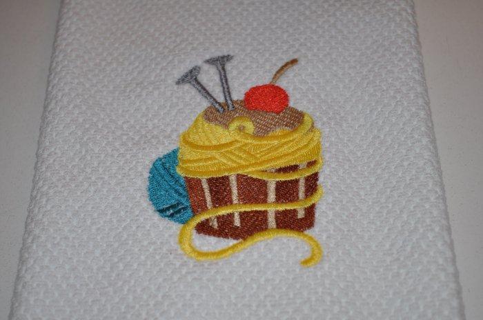 "Crafty Cupcake ""Yarn & Needles"" Kitchen Dishtowel"