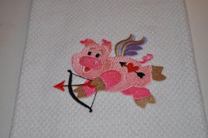 """Cupid Pig"" Valentines Day Kitchen Dishtowel"