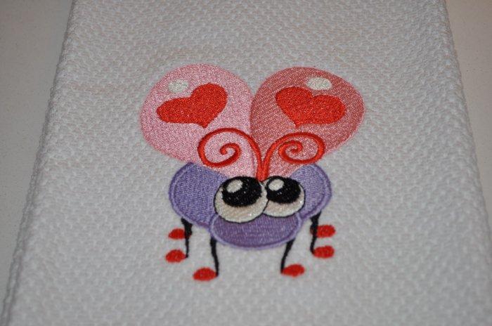 """Love Bug"" Valentines Day Kitchen Dishtowel"