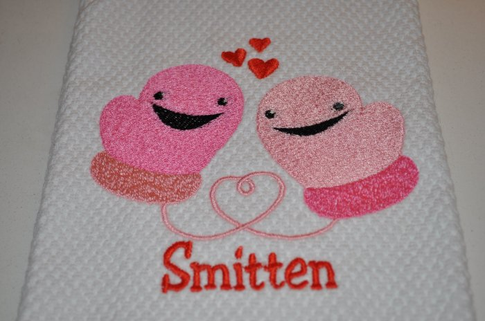 """Smitten Mittens"" Valentines Day Kitchen Dishtowel"
