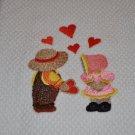 """Sunbonnet Sue & Fisherman Fred"" Valentines Day Kitchen Dishtowel"