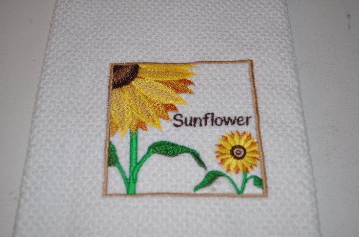 """""""Sunflower Square"""" Kitchen Dishtowel"""