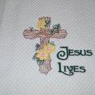 """Jesus Lives"" Easter Kitchen Dishtowel"