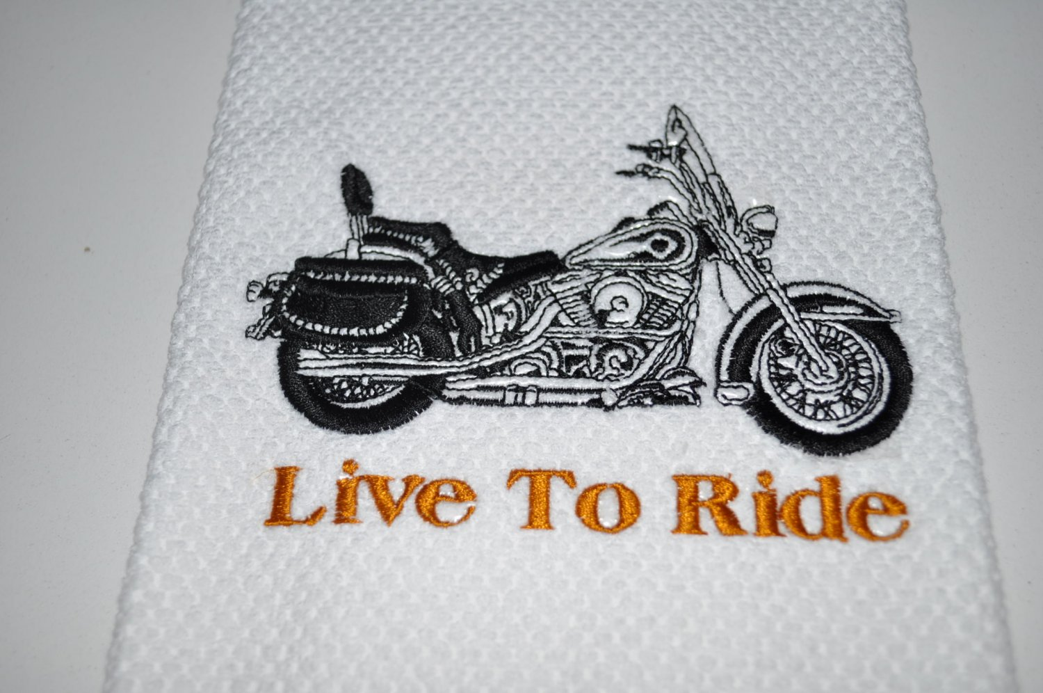 """Live To Ride"" Motorycycle Kitchen Dishtowel"