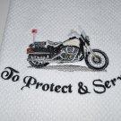 """To Protect & Serve"" Police Motorycycle Kitchen Dishtowel"