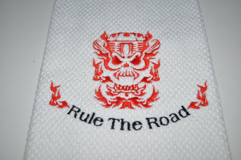 """Rule The Road"" Skull Engine Kitchen Dishtowel (Red)"