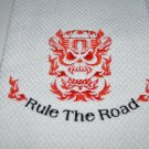 """Rule The Road"" Skull Engine Kitchen Dishtowel (Red)"