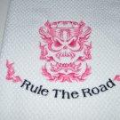 """Rule The Road"" Skull Engine Kitchen Dishtowel (Pink)"