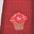 """Hearts & Stars Cupcake"" Applique Valentines Day Kitchen Dishtowel"