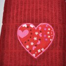 """Hearts & Stars Heart"" Applique Valentines Day Kitchen Dishtowel"