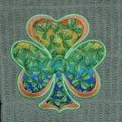 "St. Patrick's Day Applique ""Shamrock"" Rainbow Kitchen Dishtowel"