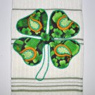"St. Patrick's Day Applique ""4 Leaf Clover"" Kitchen Dishtowel"