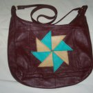 Quilt Design Pinwheel Leather Purse