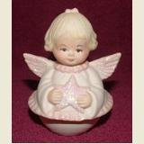ROUND BOTTOM GLITTER ANGEL WITH STAR - DATED 95
