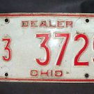 "1970'S OHIO ""DEALER"" LICENSE PLATE RED ON WHITE 433729"