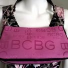 BCBG PARIS Pink and Black Logo Canvas Purse