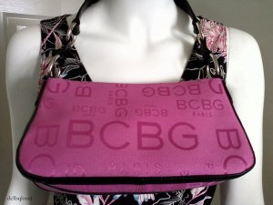 BCBG PARIS Pink and Black Logo Canvas Purse