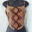 BEDO  Brown & Black Python Snake Print Crop Top - Size 7