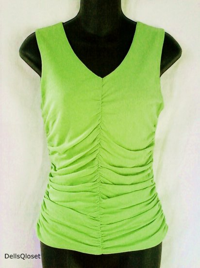 ***SOLD***CLASSIQUES ENTIER Lime Stretch Ruched Top - Size Medium