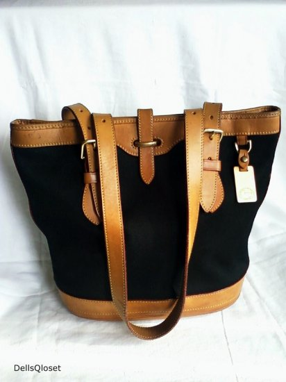 *SOLD*DOONEY & BOURKE Black & Tan Cabriolet Bucket Bag