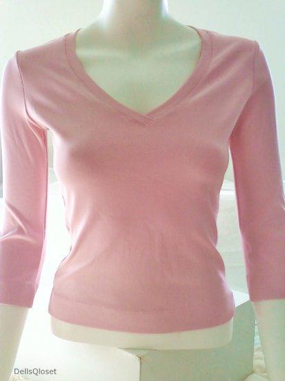 *SOLD*BEBE Pink 3/4 V-Neck Stretch Knit - Size Small