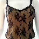 MODA INTERNATIONAL Black Lace Stretch Cami - Size Small