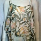 *NWOT* O.T. Peach, Olive, & White 'Butterfly'/Handkerchief Blouse - Size Medium