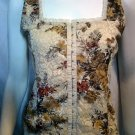 SILVERGATE Cream Floral Stretch Lace Corset Top - Size Large