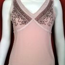 *NWOT* MODA INTERNATIONAL Pink Beaded V-Neck Top - Size Medium