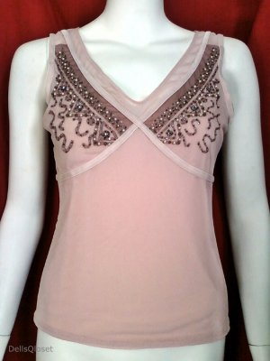 *NWOT* MODA INTERNATIONAL Pink Beaded V-Neck Top - Size Medium