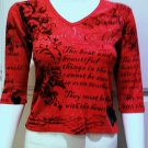 GLIMA Red Graphic Design V-Neck 3/4 Sleeve Top - Size Smal
