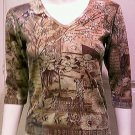 *NWOT*GLIMA Brown/Cream Graphic Caribbean Design V-Neck 3/4 Sleeve Top - Size Medium