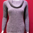 ANN TAYLOR Grey and Silver Cowl Neck Sweater - Size Medium