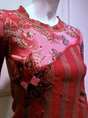 ALBERTO MAKALI Rust & Pink Embellished Long Sleeve Knit - Size Small