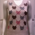 CHARLOTTE RUSSE Beige Sleeveless Heart Argyle Knit - Size Large