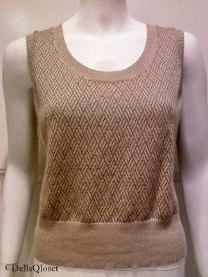 ANN TAYLOR LOFT Beige Sleeveless Basket-weave Knit Top - Size Medium