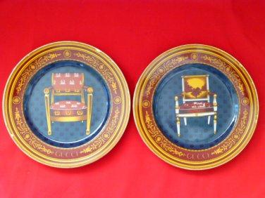 #1 - 2 Vintage GUCCI Chair Porcellana Porcelain Collector's Keepsake Plates - RARE