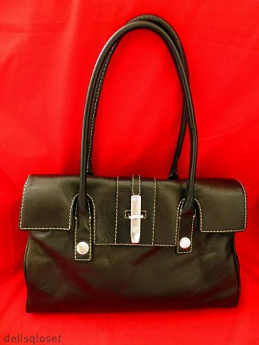 MICHAEL KORS $398 Black Leather Satchel Shopper Handbag