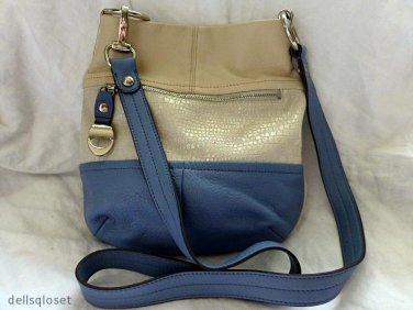 B MAKOWSKY JULIET Leather Creme Blue Croc-Embossed Ivory Shoulder/Cross Body Bag