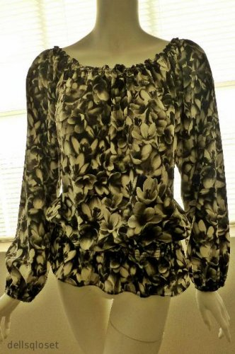 MICHAEL KORS Black & White Floral Print Long Sleeve Blouse Size Medium