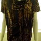 MICHAEL KORS Black & Brown Graphic Print Short Sleeve Blouse Size Medium